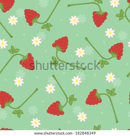 Raspberries seamless pattern. Raspberries on turquoise background. - stock photo