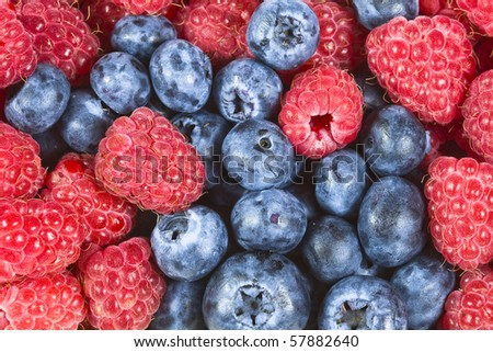 Raspberries with blueberries