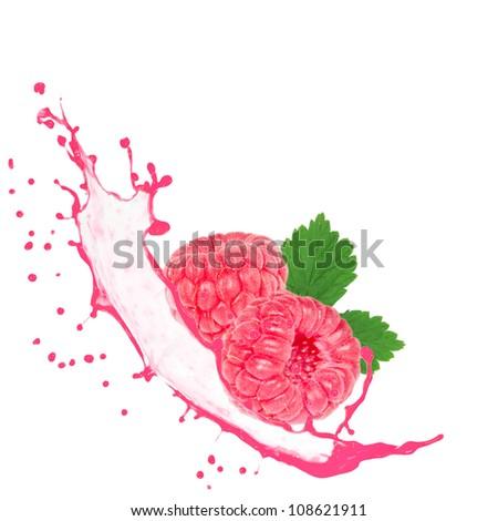 Raspberries with splash isolated on white - stock photo