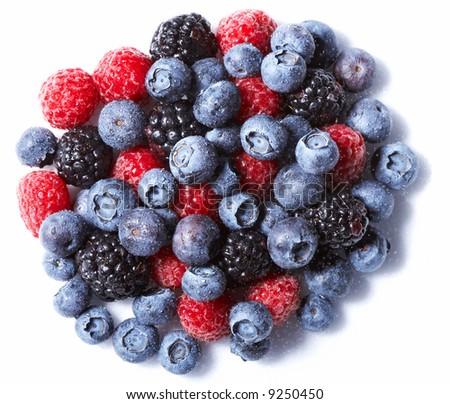 Raspberry and blueberry on white - stock photo