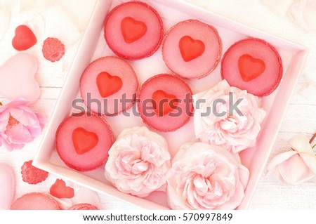 Raspberry And Strawberry Pink Macarons With Chocolate Hearts, Pastel  Valentine Decor And Rose Flowers Soft