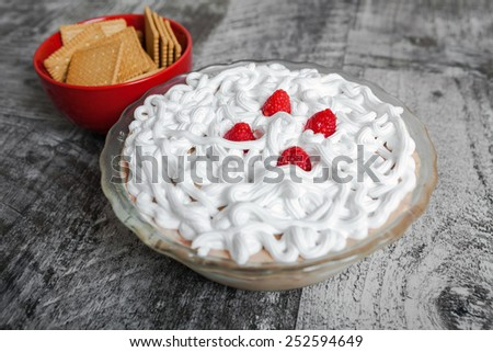 Raspberry biscuit cake - sweet delight - stock photo