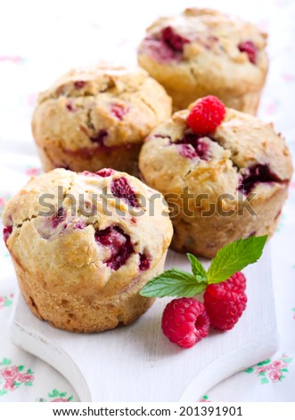 Raspberry bran muffins, selective focus - stock photo