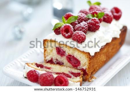 Raspberry Cake for holidays - stock photo