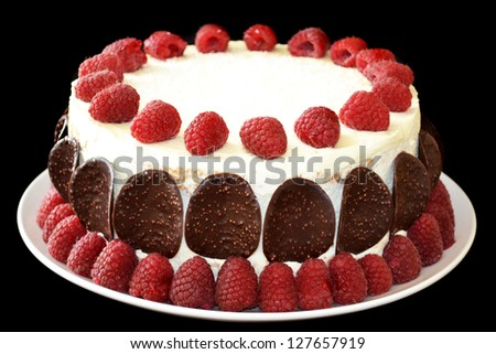 Raspberry Cake with Chocolate Chips - stock photo