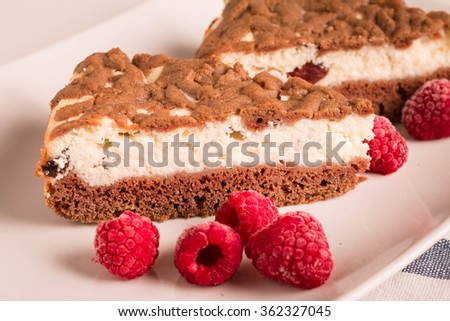 Raspberry Cheesecake with Chocolate Crust. Selective focus. - stock photo