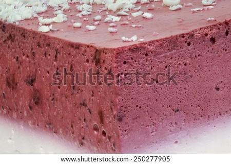 Raspberry Cream Cake Cut Detail - stock photo