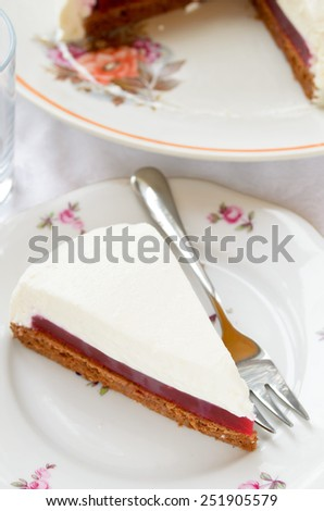 Raspberry cream cake with jelly - stock photo