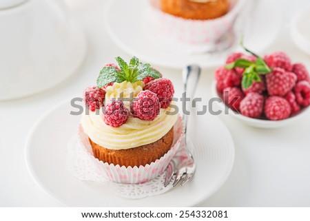 Raspberry Cupcake - stock photo