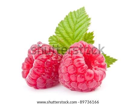 Raspberry fruit closeup isolated on white background - stock photo