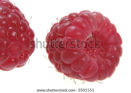 Raspberry fruit detail isolated on white background