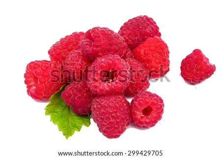 Raspberry fruit with leaf sprig, isolated over white background - stock photo