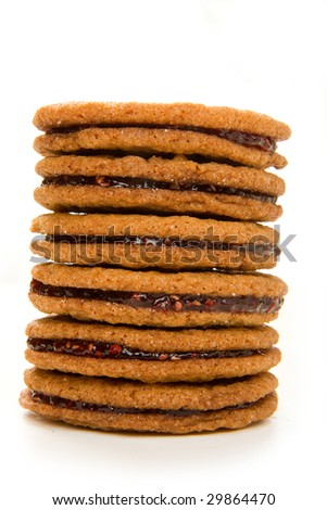 Raspberry ginger snap cookies stacked high