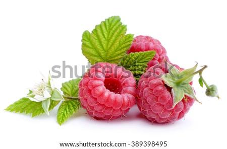 Raspberry isolated on white background. - stock photo
