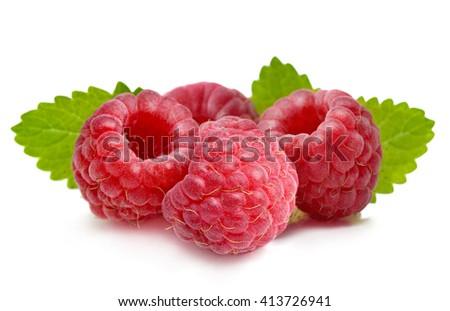 Raspberry isolated on white background. . - stock photo