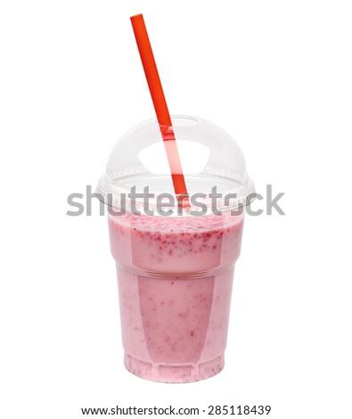 Raspberry milkshake isolated on white background including clipping path - stock photo