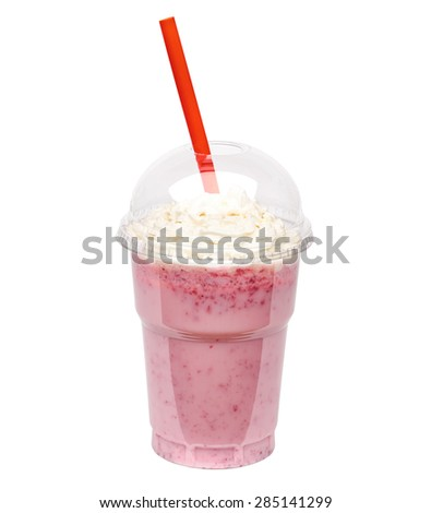 Raspberry milkshake with cream in take away cup isolated on white background including clipping path