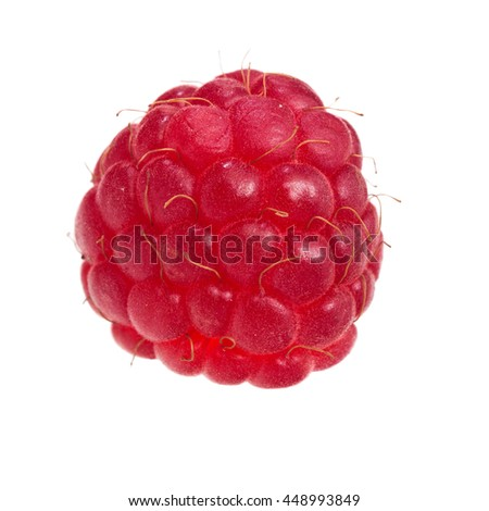 Raspberry on a white background close up.