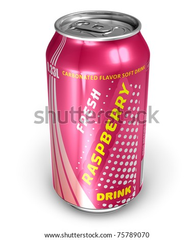 Raspberry soda drink in metal can