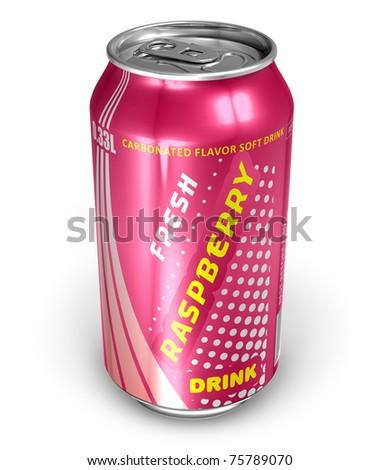 Raspberry soda drink in metal can - stock photo