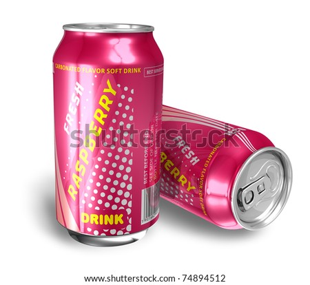 Raspberry soda drinks in metal cans - stock photo