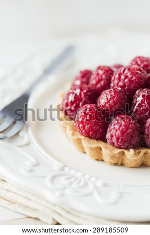 Raspberry tart - stock photo