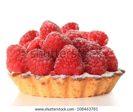 Raspberry tart, studio isolated on white. - stock photo