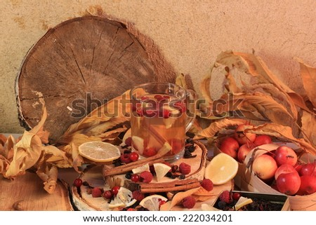 raspberry tea cranberries autumn dry leaves dried berry fruit vitamins