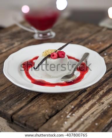 Raspberry Vanilla Panna Cotta - stock photo