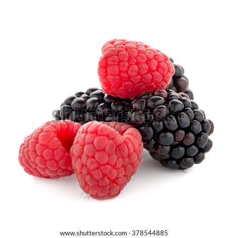 Raspberry with blackberry on white background. - stock photo