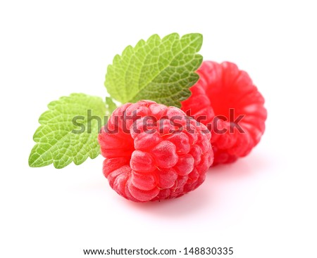 Raspberry with melissa - stock photo