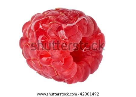 Raspberry with water droplets isolated with clipping path