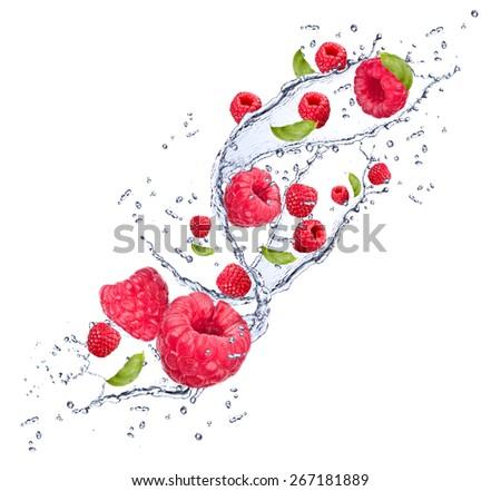Raspberry with watter splash isolated on white background - stock photo