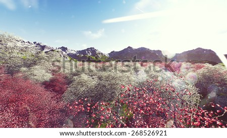 Rasrer Background with Mountains  trees - stock photo