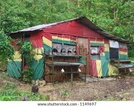RASTA HOUSE. Rastafarian House, Port Antonio Jamaica. - stock photo
