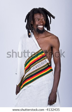 rasta man in traditional cloth, people diversity series - stock photo