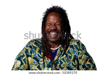 Rasta man laughing out loud, isolated image - stock photo