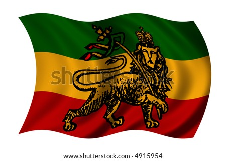 Rastafarian flag with lion - clipping path included - stock photo