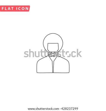 Rastafarian man. Black outline simple pictogram on white. Line icon - stock photo