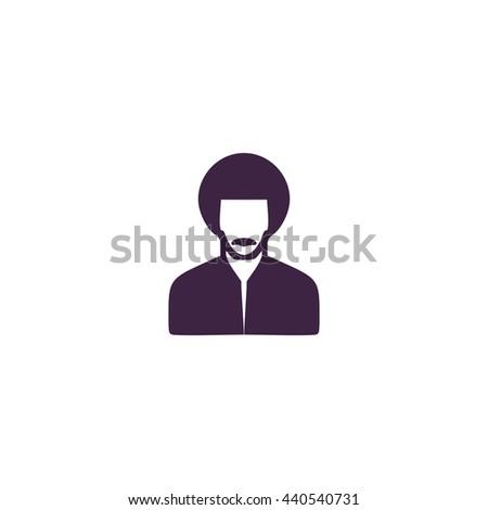 Rastafarian man. Simple blue icon on white background - stock photo