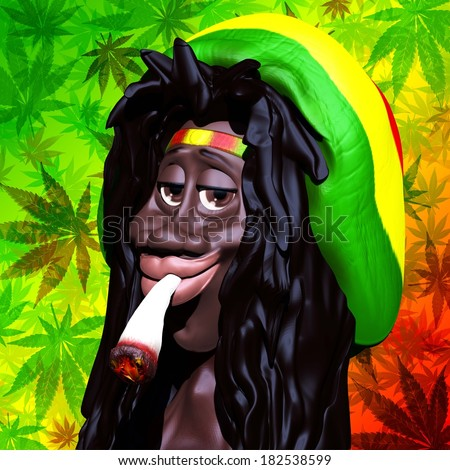 Rastaman Marijuana Caricature 3d - stock photo