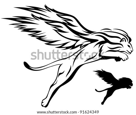 raster - astrological winged lion illustration (vector version is available in my portfolio)