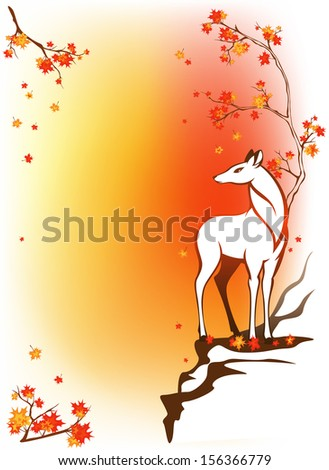 raster - autumn forest background with deer standing among bright maple leaves - stock photo