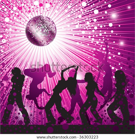 RASTER background - pink CD Cover design with people, disco-ball and glitters - stock photo