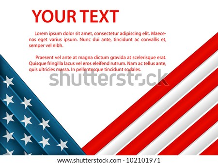 raster background with American flag in plastic style - stock photo