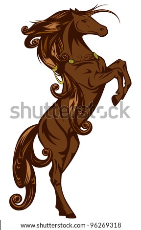 raster - beautiful bay color fairy tale horse illustration (vector version is available in my portfolio) - stock photo