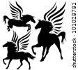 raster - beautiful pegasus horses black silhouettes over white  (vector version is available in my portfolio) - stock photo