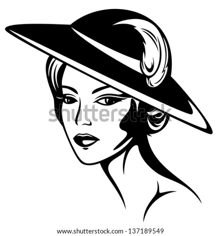 raster - beautiful woman wearing vintage hat - black and white illustration (vector version is available in my portfolio) - stock photo