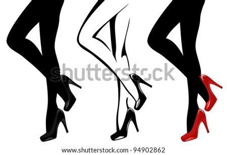 raster - beautiful women legs wearing high-heeled shoes illustration (vector version is available in my portfolio)