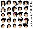 RASTER Big set of vector hair styling - stock vector